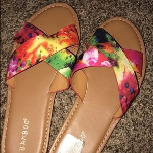 Rainbow tie dye flip flops